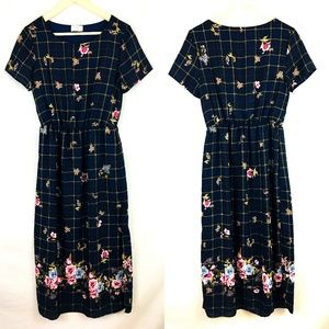 Everly Navy Floral Check A Line Midi Dress Size M